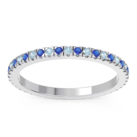 Aquamarine Eternity Pave Kona Band with Blue Sapphire in Palladium