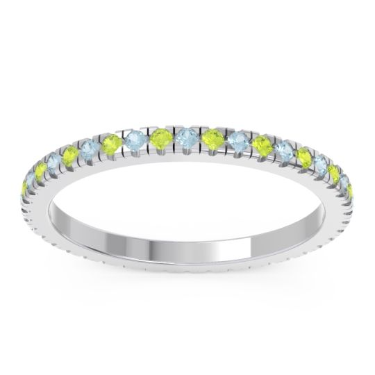 Aquamarine Eternity Pave Kona Band with Peridot in Platinum