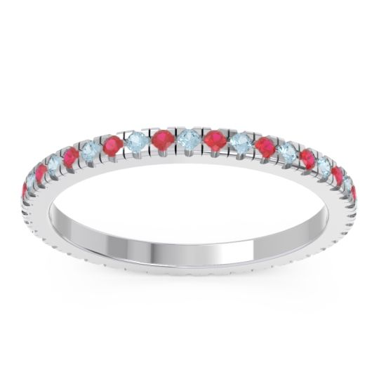 Aquamarine Eternity Pave Kona Band with Ruby in 14k White Gold