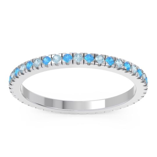 Aquamarine Eternity Pave Kona Band with Swiss Blue Topaz in 14k White Gold