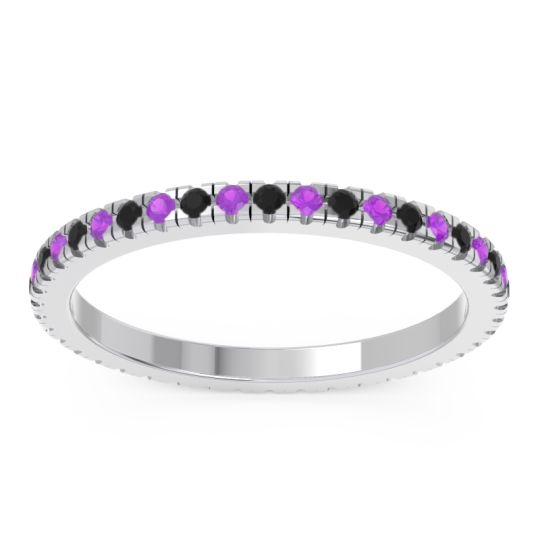 Black Onyx Eternity Pave Kona Band with Amethyst in Palladium