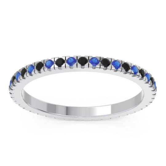 Black Onyx Eternity Pave Kona Band with Blue Sapphire in Platinum