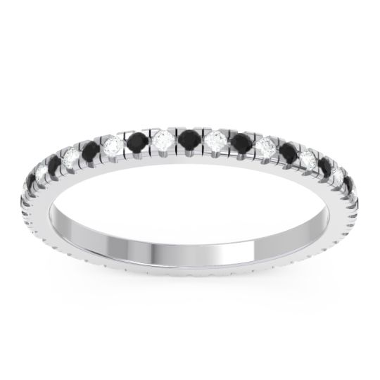 Black Onyx Eternity Pave Kona Band with Diamond in Platinum