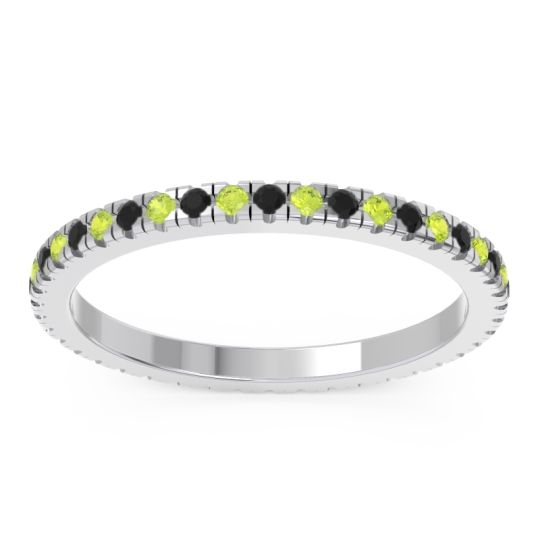 Black Onyx Eternity Pave Kona Band with Peridot in Palladium