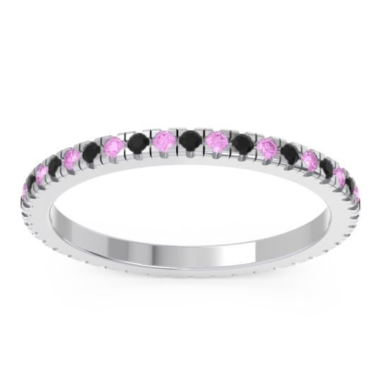 Eternity Pave Kona Black Onyx Band with Pink Tourmaline in 14k White Gold