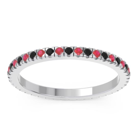 Eternity Pave Kona Black Onyx Band with Ruby in Palladium
