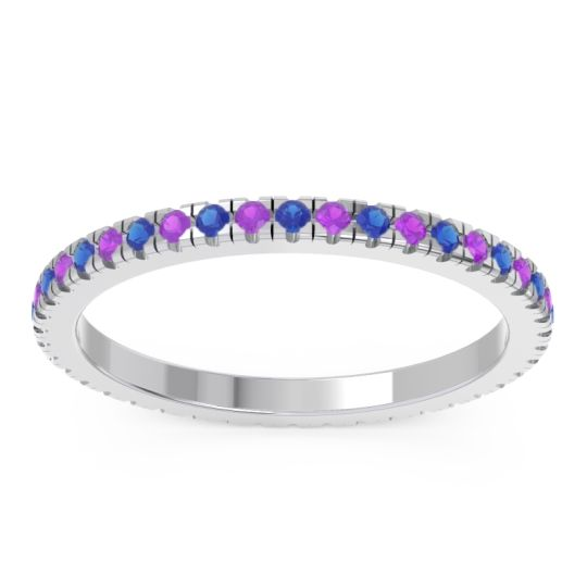 Blue Sapphire Eternity Pave Kona Band with Amethyst in Platinum