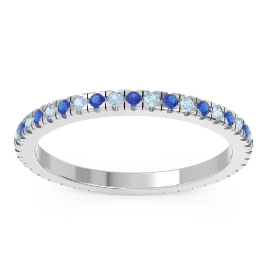 Eternity Pave Kona Blue Sapphire Band with Aquamarine in Platinum