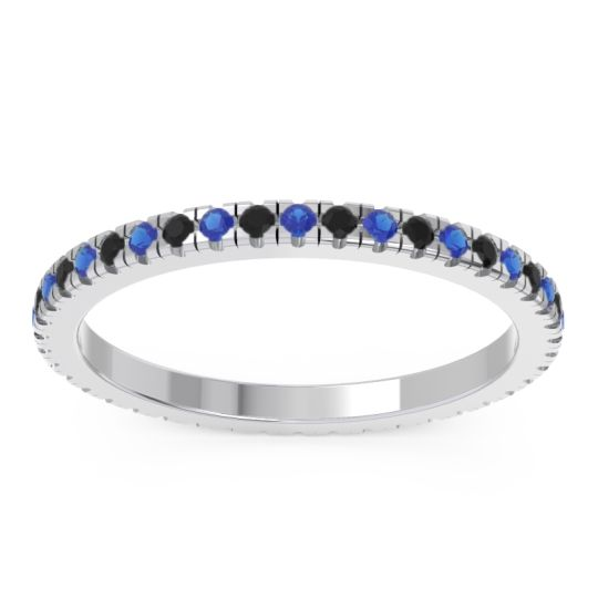 Eternity Pave Kona Blue Sapphire Band with Black Onyx in 18k White Gold