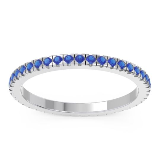Blue Sapphire Eternity Pave Kona Band in 18k White Gold
