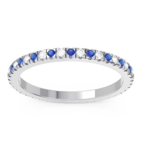 Blue Sapphire Eternity Pave Kona Band with Diamond in Platinum