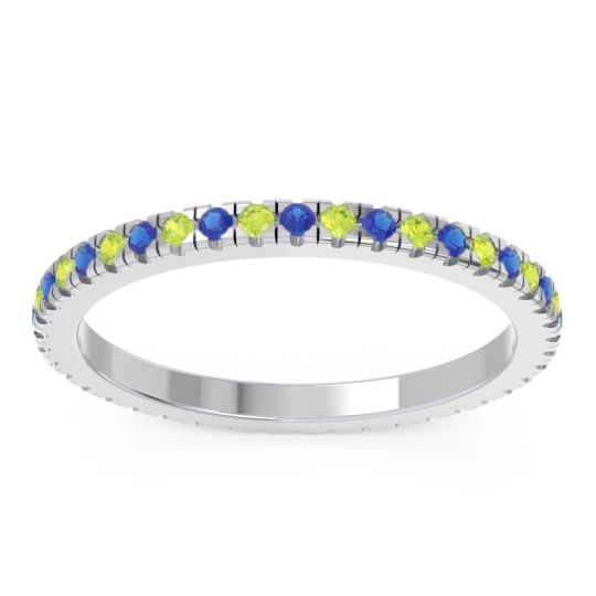 Blue Sapphire Eternity Pave Kona Band with Peridot in 14k White Gold
