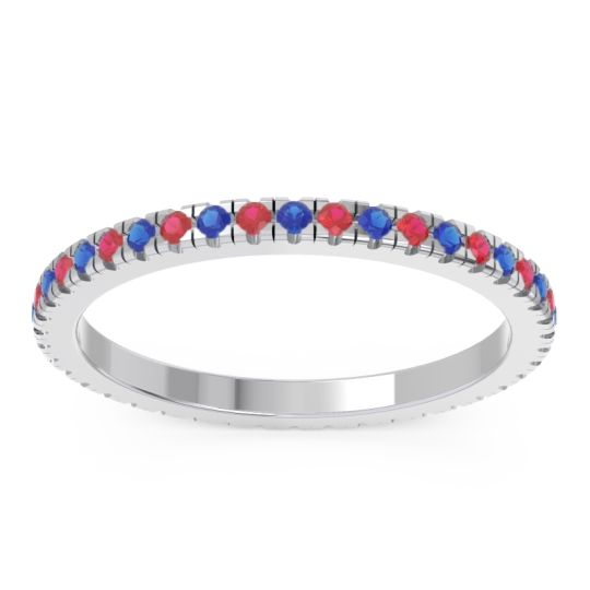 Eternity Pave Kona Blue Sapphire Band with Ruby in 14k White Gold