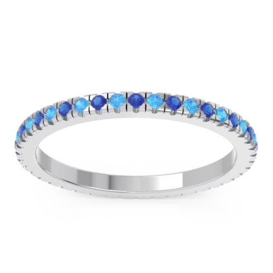 Blue Sapphire Eternity Pave Kona Band with Swiss Blue Topaz in 14k White Gold