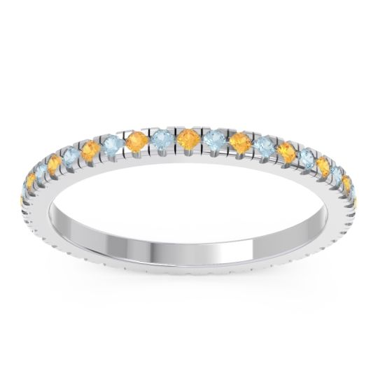 Eternity Pave Kona Citrine Band with Aquamarine in Platinum