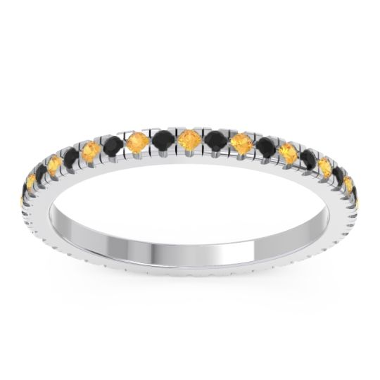 Citrine Eternity Pave Kona Band with Black Onyx in Palladium