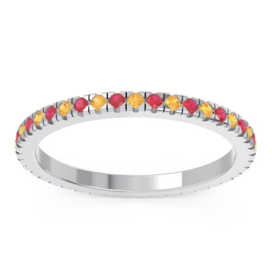 Citrine Eternity Pave Kona Band with Ruby in Palladium