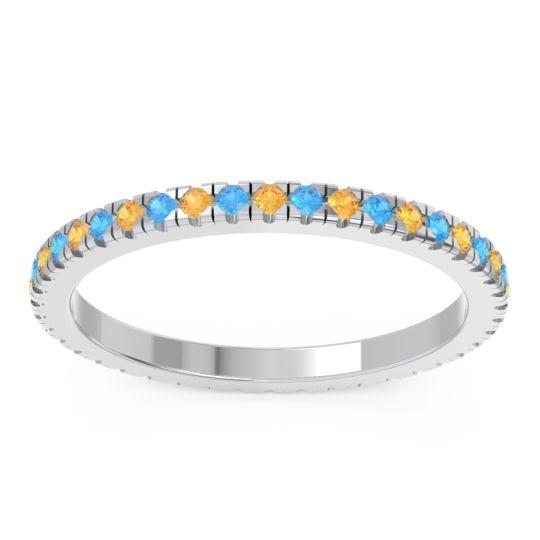 Citrine Eternity Pave Kona Band with Swiss Blue Topaz in 18k White Gold