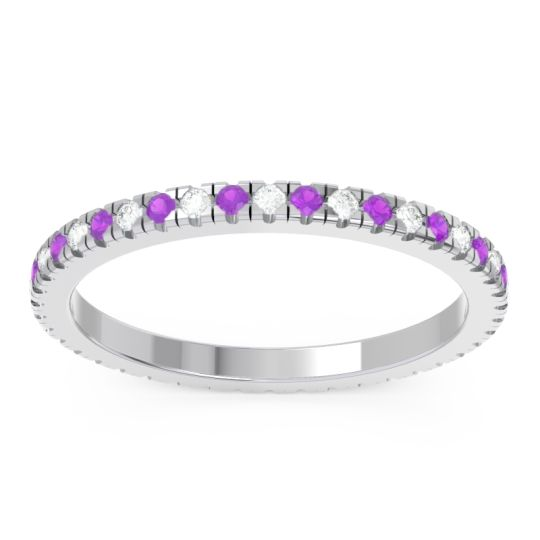 Diamond Eternity Pave Kona Band with Amethyst in 14k White Gold