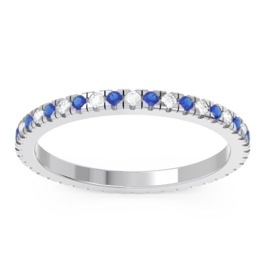 Diamond Eternity Pave Kona Band with Blue Sapphire in 14k White Gold