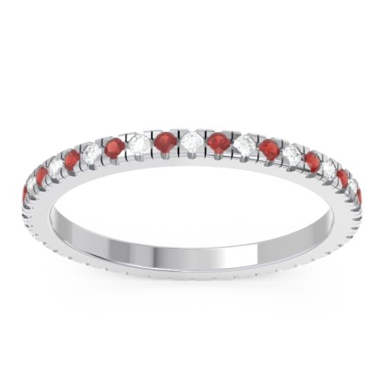 Diamond Eternity Pave Kona Band with Garnet in Platinum