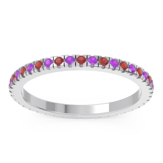 Garnet Eternity Pave Kona Band with Amethyst in 18k White Gold