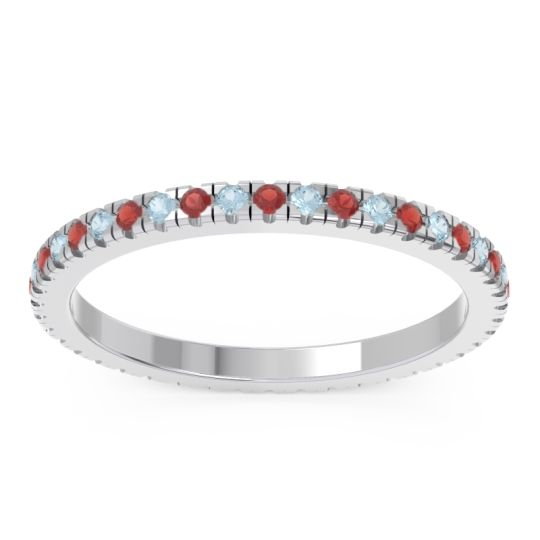 Garnet Eternity Pave Kona Band with Aquamarine in Palladium