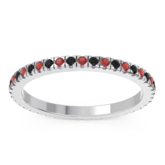 Garnet Eternity Pave Kona Band with Black Onyx in 14k White Gold