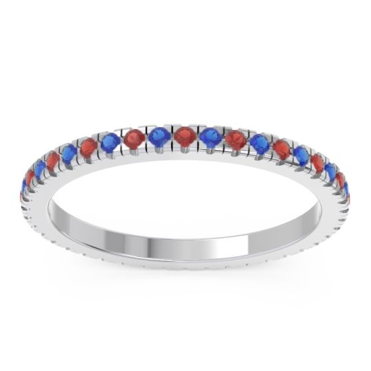 Garnet Eternity Pave Kona Band with Blue Sapphire in Platinum