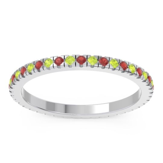 Garnet Eternity Pave Kona Band with Peridot in Palladium