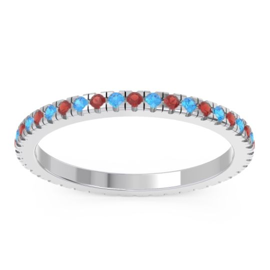 Garnet Eternity Pave Kona Band with Swiss Blue Topaz in 18k White Gold