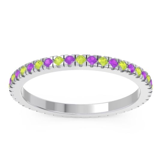 Peridot Eternity Pave Kona Band with Amethyst in 18k White Gold