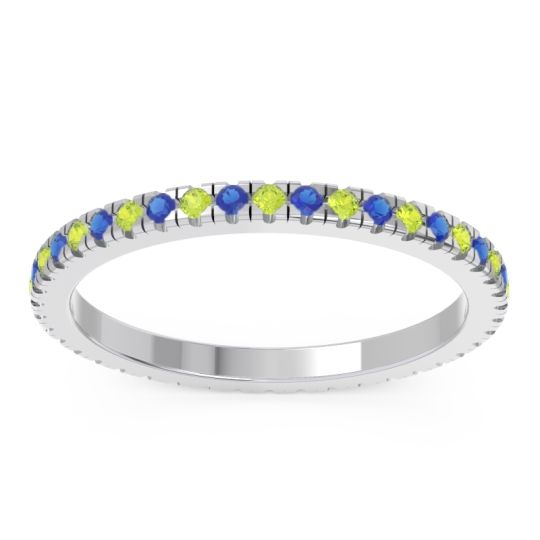 Peridot Eternity Pave Kona Band with Blue Sapphire in Platinum