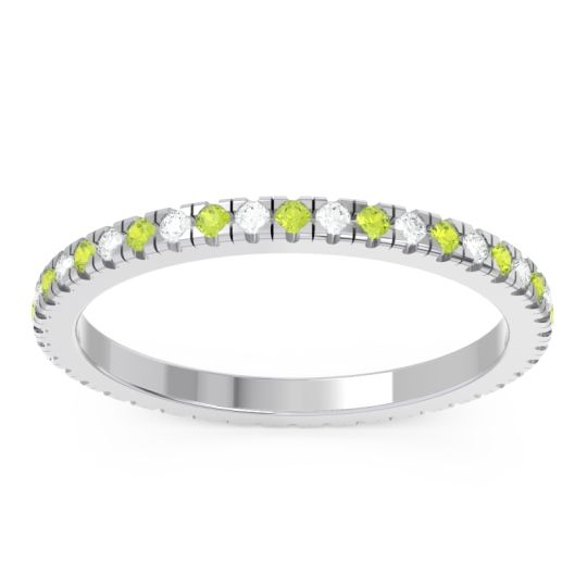 Peridot Eternity Pave Kona Band with Diamond in 14k White Gold