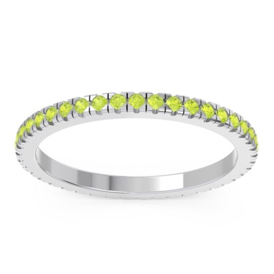 Peridot Eternity Pave Kona Band in Platinum