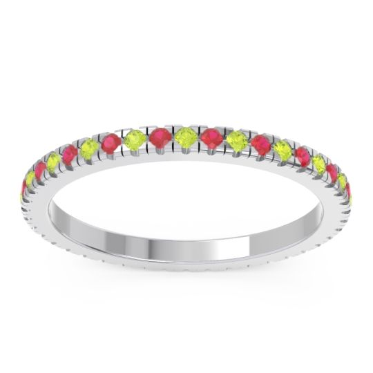 Peridot Eternity Pave Kona Band with Ruby in 18k White Gold