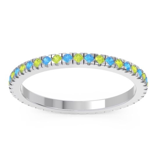 Peridot Eternity Pave Kona Band with Swiss Blue Topaz in Palladium