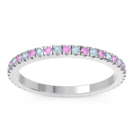 Pink Tourmaline Eternity Pave Kona Band with Aquamarine in 14k White Gold