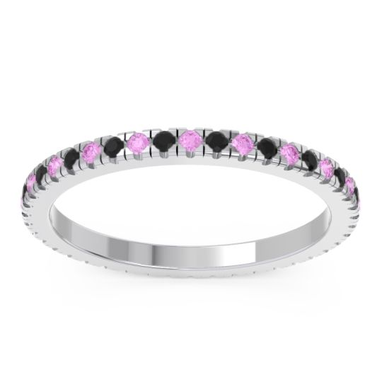 Pink Tourmaline Eternity Pave Kona Band with Black Onyx in 18k White Gold