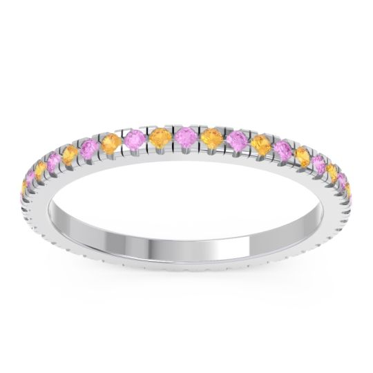 Pink Tourmaline Eternity Pave Kona Band with Citrine in 14k White Gold