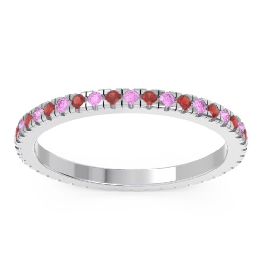 Pink Tourmaline Eternity Pave Kona Band with Garnet in 14k White Gold