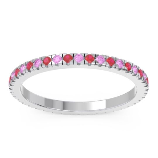 Pink Tourmaline Eternity Pave Kona Band with Ruby in 18k White Gold