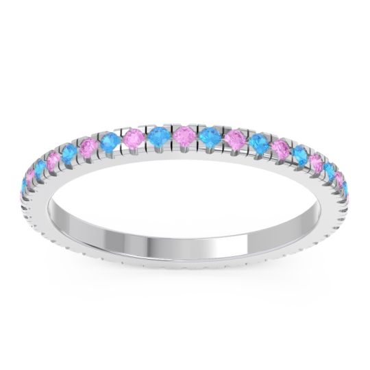 Pink Tourmaline Eternity Pave Kona Band with Swiss Blue Topaz in 18k White Gold