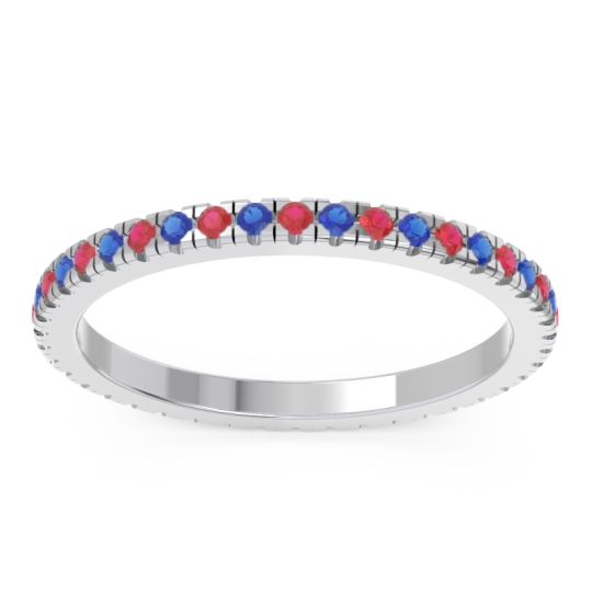 Eternity Pave Kona Ruby Band with Blue Sapphire in 18k White Gold