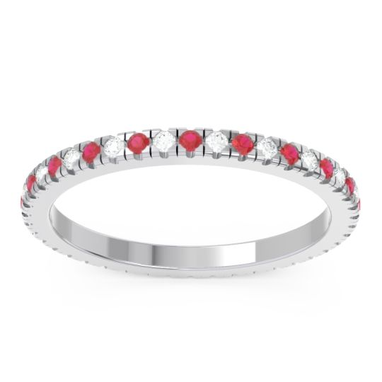 Ruby Eternity Pave Kona Band with Diamond in 14k White Gold