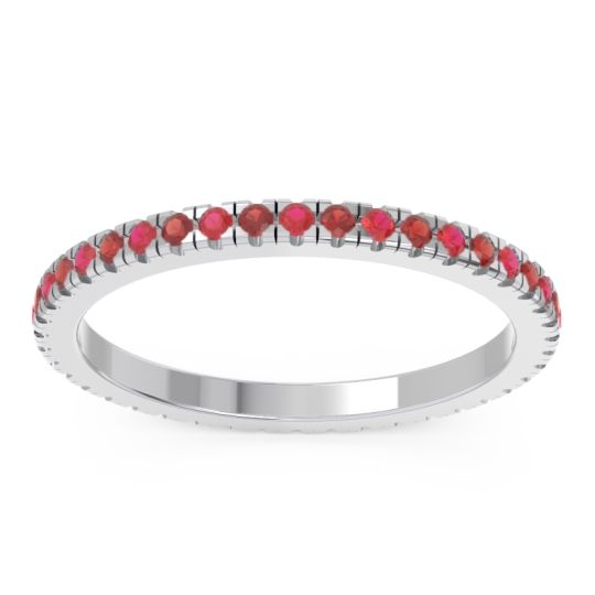 Ruby Eternity Pave Kona Band with Garnet in Platinum