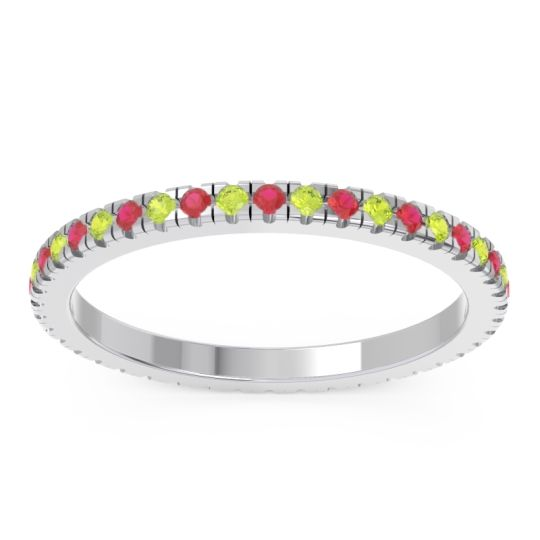 Eternity Pave Kona Ruby Band with Peridot in Platinum