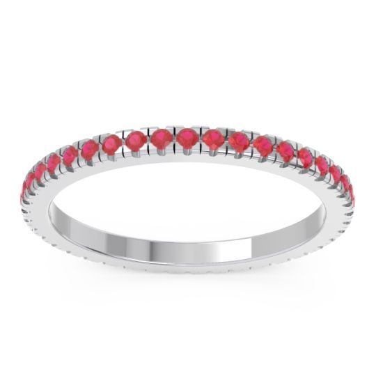 Ruby Eternity Pave Kona Band in 14k White Gold