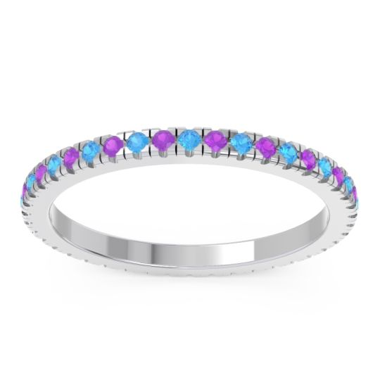 Eternity Pave Kona Swiss Blue Topaz Band with Amethyst in 14k White Gold
