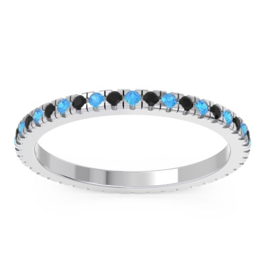 Swiss Blue Topaz Eternity Pave Kona Band with Black Onyx in Palladium